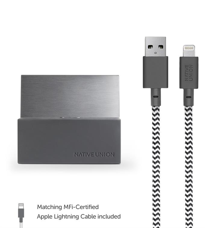 Native Union Dock+ For IP With 1.2M Kv Cable-Slate