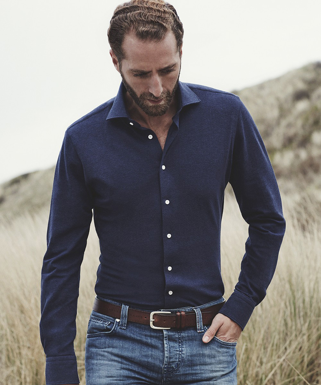 Tailored Fit Overhemd.Profuomo Originale Slim Fit Knitted Overhemd Lm
